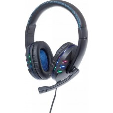 Manhattan USB Wired Over-the-head Stereo Gaming Headset with LED- Blue/Black