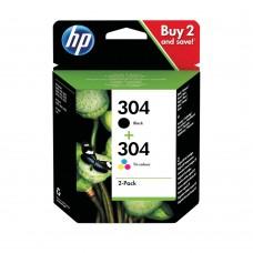 HP 304 Tri-colour and Black Ink Cartridge Twin Pack 3JB05AE Genuine