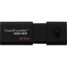 Kingston DataTraveler 100 G3 64 GB USB 3.0 Flash Drive - Black - 5 Year Warranty
