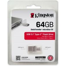 Kingston® DataTraveler® microDuo 3C 64GB Flash Drive USB 3.1 Type-C™ Dual Stick