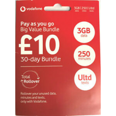 Vodafone Big Value Bundle Pay As You Go 3-in-1 SIM Card