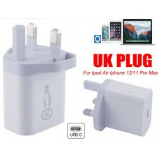 20W PD USB-C Type C Fast Wall Charger Adapter UK Plug For iPad iPhone 12 Pro Max